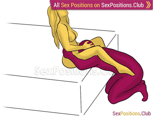 Sex position #389 - Hunger (on the bed). (oral sex, cunnilingus, kneeling). Kamasutra - Photo, picture, image