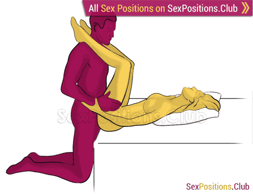 Sex position #410 - Riverside (on the bed). (anal sex, right angle, kneeling). Kamasutra - Photo, picture, image
