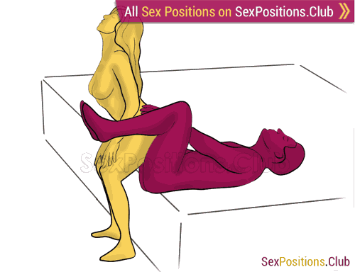 Sex position #331 - Soft chair (on the bed). (woman on top, from behind, rear entry, reverse,). Kamasutra - Photo, picture, image