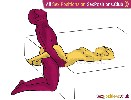 Sex position #456 - Skewer (on the bed). (right angle, kneeling). Kamasutra - Photo, picture, image
