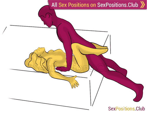 Sex position #444 - Plank (on the bed). (man on top). Kamasutra - Photo, picture, image