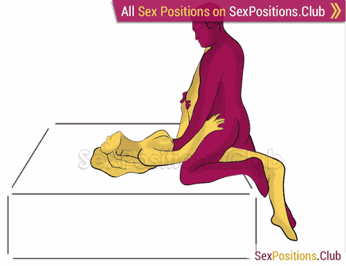 Sex position #465 - Knight (on the bed). (kneeling) Kamasutra - Photo, picture, image