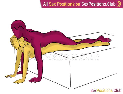 Sex position #438 - Magic carpet (on the bed). (anal sex, from behind, rear entry, man on top, lying down). Kamasutra - Photo, picture, image