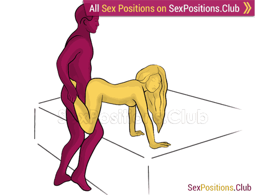 Sex position #424 - Tugboat (on the bed). (doggy style, from behind, rear entry, standing). Kamasutra - Photo, picture, image