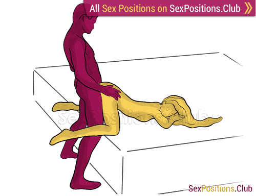 Sex position #489 - Сhibi (on the bed). (anal sex, doggy style, from behind, rear entry, standing). Kamasutra - Photo, picture, image