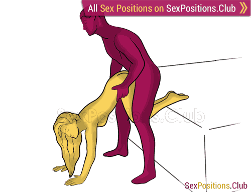 Sex position #480 - Juicy ass (on the bed). (doggy style, from behind, rear entry, standing). Kamasutra - Photo, picture, image
