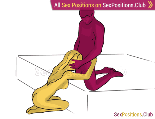 Sex position #354 - Сompliment (on the bed). (oral sex, blowjob, kneeling). Kamasutra - Photo, picture, image