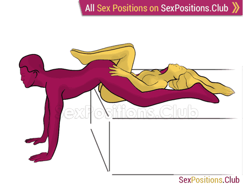 Sex position #469 - Tight pussy. (reverse, lying down). Kamasutra - Photo, picture, image
