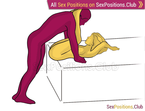 Sex position #483 - Сatapult (on the bed). (anal sex, right angle, standing). Kamasutra - Photo, picture, image