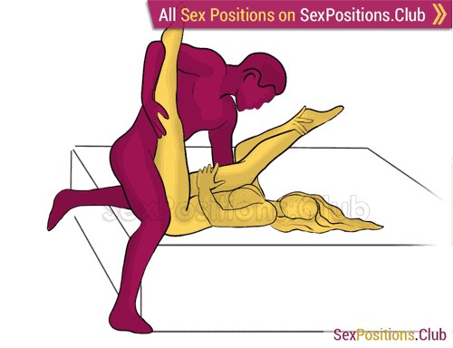 Sex position #344 - Recharge (on the bed). (right angle, standing). Kamasutra - Photo, picture, image