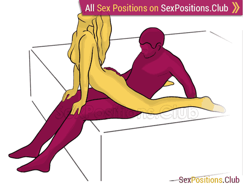 Sex position #305 - Bent cowgirl (on the bed). (cowgirl, woman on top, from behind, rear entry, sitting). Kamasutra - Photo, picture, image