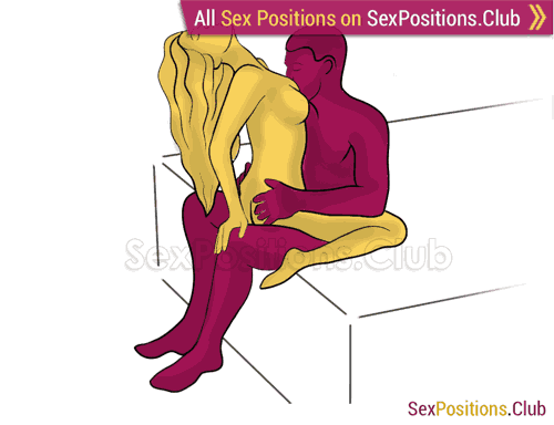 Sex position #317 - Merger (on the bed). (woman on top, face to face, sitting). Kamasutra - Photo, picture, image
