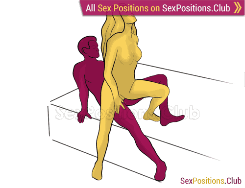 Sex position #368 - Dirty dancing (on the bed). (woman on top, from behind, standing). Kamasutra - Photo, picture, image