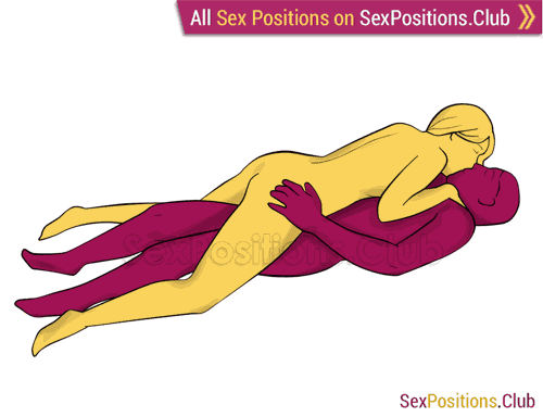 Sex position #283 - Lizard. (woman on top, face to face, spooning, lying down). Kamasutra - Photo, picture, image