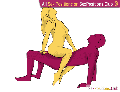 Sex position #378 - Air rider. (cowgirl, woman on top, right angle, standing). Kamasutra - Photo, picture, image