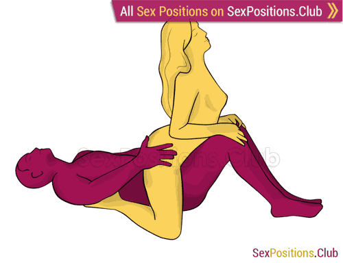 Sex position #434 - Titanic. (cowgirl, woman on top, from behind, rear entry). Kamasutra - Photo, picture, image