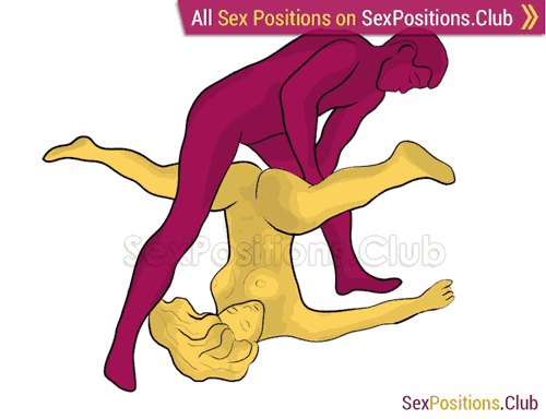 Sex position #285 - Wild yoga. (criss cross, reverse, man on top, standing). Kamasutra - Photo, picture, image