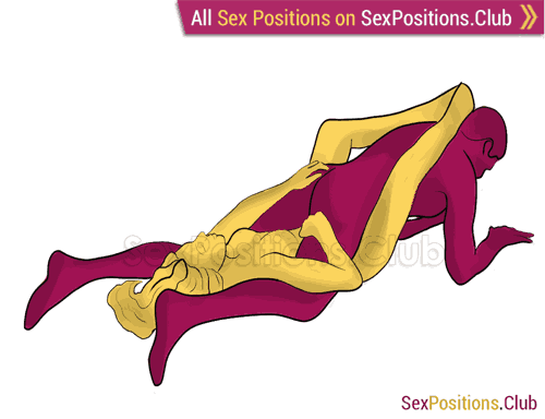 Sex position #364 - Snow angel. (reverse, man on top, lying down). Kamasutra - Photo, picture, image