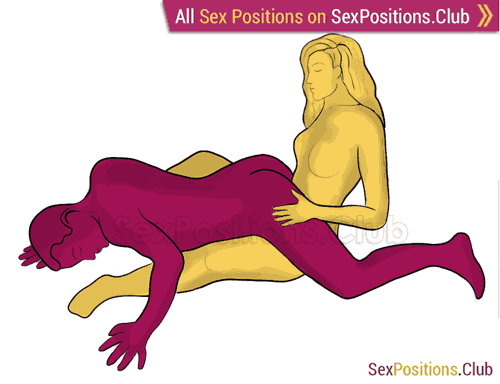 Sex position #326 - Fallen warrior. (reverse, man on top). Kamasutra - Photo, picture, image
