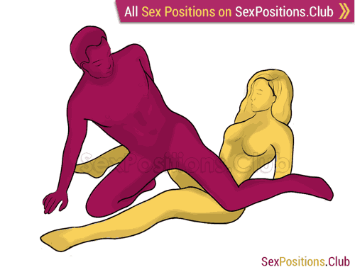 Sex position #262 - Sower. (criss cross, reverse, man on top). Kamasutra - Photo, picture, image