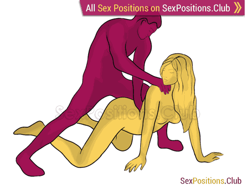 Sex position #340 - Сhili dog. (anal sex, doggy style, from behind, rear entry, standing). Kamasutra - Photo, picture, image