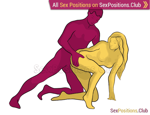 Sex position #322 - Сanadian. (anal sex, doggy style, from behind, rear entry, kneeling). Kamasutra - Photo, picture, image