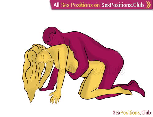 Sex position #260 - Tight Squeeze. (anal sex, doggy style, from behind, rear entry, kneeling). Kamasutra - Photo, picture, image