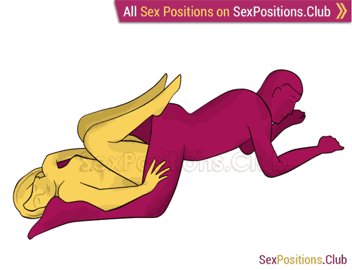 Sex position #287 - Tight vagina. (reverse, lying down). Kamasutra - Photo, picture, image