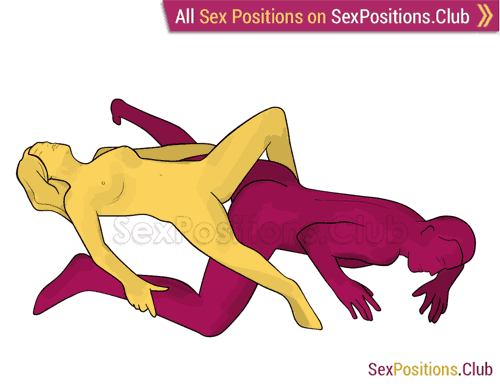 Sex position #304 - Reverse connection. (reverse, lying down). Kamasutra - Photo, picture, image