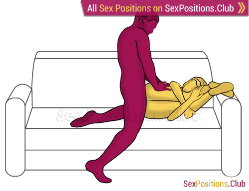 Sex position #471 - Gimlet (on the couch). (anal sex, from behind, rear entry, right angle). Kamasutra - Photo, picture, image