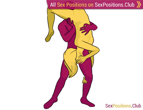 Sex position #169 - Snake. (69 sex position, oral sex, standing). Kamasutra - Photo, picture, image