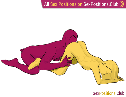 Sex position #86 - Forbidden Fruit. (cunnilingus, from behind, kneeling, oral sex). Kamasutra - Photo, picture, image