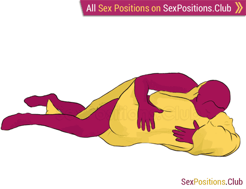Sex position #136 - Thirst. (face to face, lying down, sideways). Kamasutra - Photo, picture, image