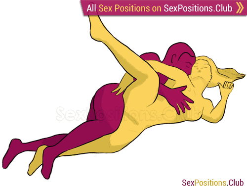 Sex position #26 - Binding. (from behind, lying down, rear entry, sideways, spooning). Kamasutra - Photo, picture, image