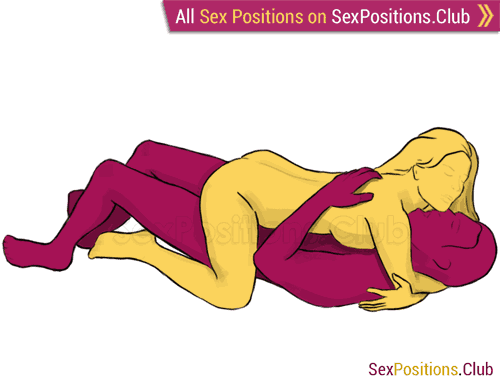Sex position #101 - Watering can. (face to face, lying down, woman on top). Kamasutra - Photo, picture, image