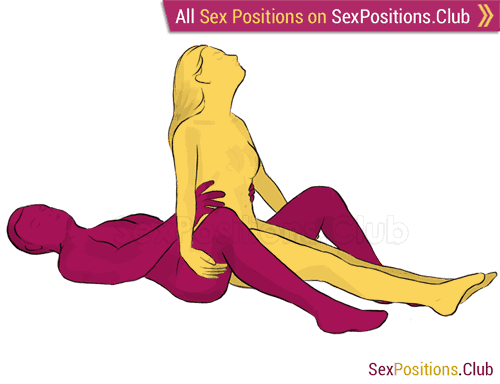 Sex position #54 - Tiara. (cowgirl, from behind, woman on top). Kamasutra - Photo, picture, image