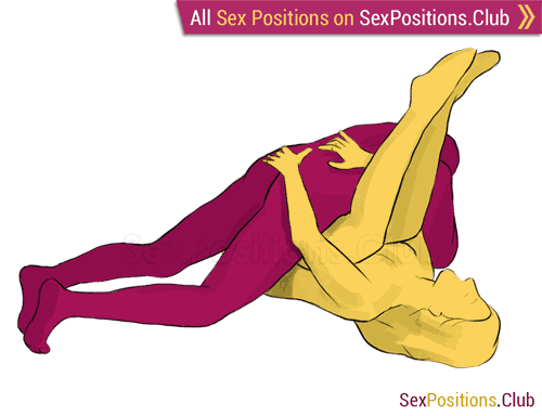Sex position #139 - Rainbow. (criss cross, lying down, man on top). Kamasutra - Photo, picture, image