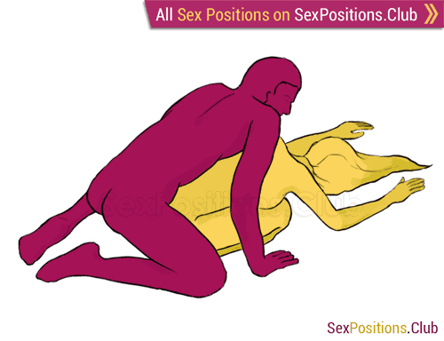 Sex position #56 - Turtle. (doggy style, from behind, kneeling, man on top, rear entry). Kamasutra - Photo, picture, image