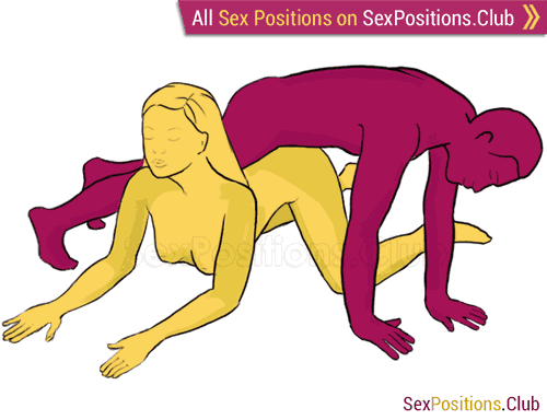 Sex position #80 - Avalanche. (criss cross, from behind, man on top, rear entry). Kamasutra - Photo, picture, image