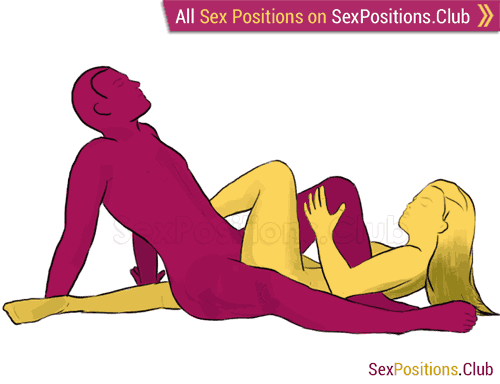 Sex position #129 - Octopus. (reverse, right angle, sitting). Kamasutra - Photo, picture, image