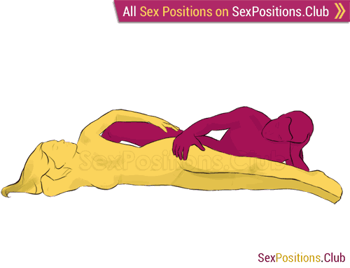 Sex position #194 - Ribbon. (from behind, lying down, rear entry, reverse, sideways). Kamasutra - Photo, picture, image