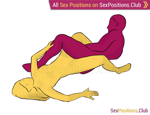 Sex position #239 - Fusion. (lying down, reverse). Kamasutra - Photo, picture, image