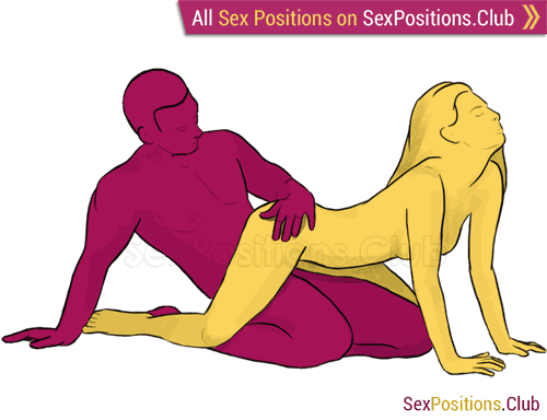 Sex position #198 - Leopard. (from behind, sitting, woman on top). Kamasutra - Photo, picture, image
