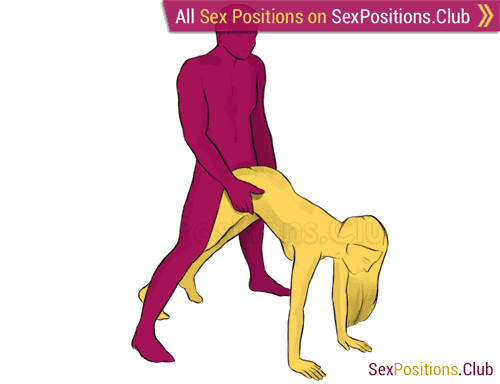Sex position #220 - Bicycle. (doggy style, from behind, rear entry, standing). Kamasutra - Photo, picture, image