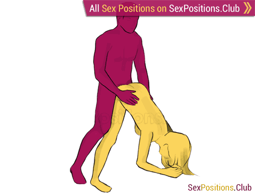 Sex position #229 - Eiffel Tower. (doggy style, from behind, rear entry, standing). Kamasutra - Photo, picture, image