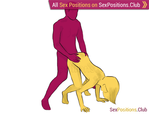 Sex position #235 - Leapfrog. (doggy style, from behind, rear entry, standing). Kamasutra - Photo, picture, image