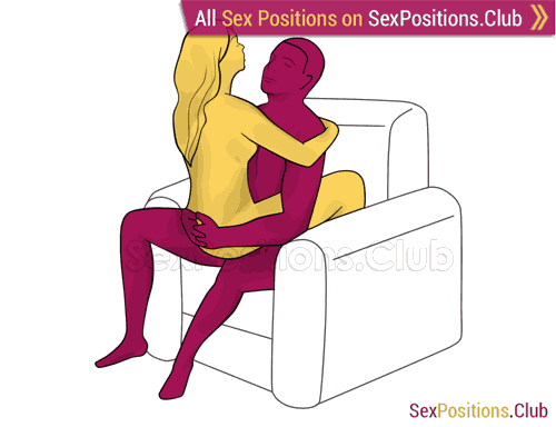 Sex position #325 - Zodiac (on the armchair). (woman on top, face to face, sitting). Kamasutra - Photo, picture, image