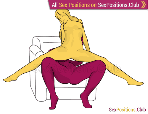 Sex position #311 - Fantastic elevator (on the armchair). (A-spot stimulation, armchair, cowgirl, G-spot stimulation, hard level, man active, middle penetration, woman active, woman on top)
