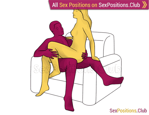 Sex position #299 - Nice talk (on the armchair). (woman on top, criss cross, sitting). Kamasutra - Photo, picture, image