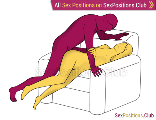 Sex position #286 - Secret entrance (on the armchair). (anal sex, from behind, rear entry). Kamasutra - Photo, picture, image